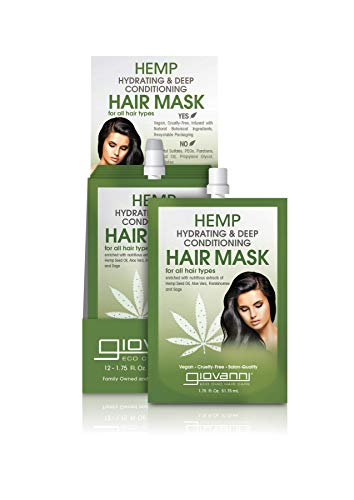 GIOVANNI Hair Care Hemp Hydrating Deep Conditioning Hair Mask With Hydrating Formula for Shiny Supple Hair (Sulfate Free/Color Safe/Pop Tray), 1.75 Fl Oz