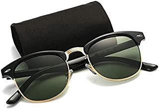 Carls Louison Polarized Men Women Clubmaster Sunglasses (Black Green)