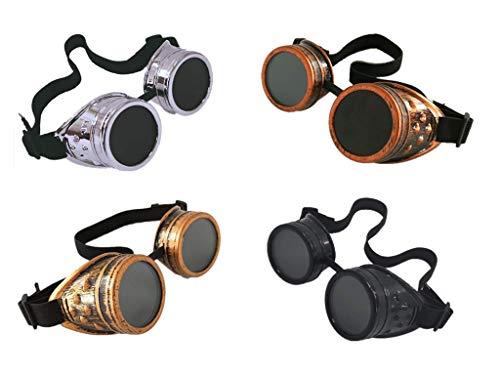ELIDA 4pcs Retro welding Goggles welding glasses Cosplay, Bronze / Brass / Black / Silver, Bronze / Brass / Black / Silver