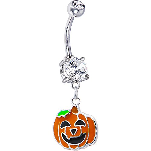 Body Candy Stainless Steel Happy JackoLantern Belly Button Ring