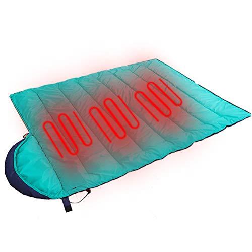 WUHUAROU Saco de Dormir con calefacción eléctrica, cálido, Impermeable, Ajustable, portátil, Perezoso, multifunción, para Viajes al Aire Libre, Acampar, Ligero