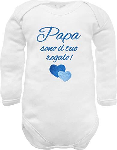 Body de bebé de manga larga con bordado con frase nacimiento y texto en inglés «Soy tu regalo con corazones en azul – idea regalo para nacimiento masculino bianco manica lunga 0-3 Meses