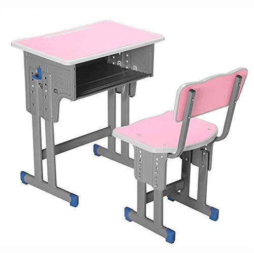 Juego de escritorio y silla para niños Mesa resistente ergonómica ajustable en altura para niños, escritorio de la escuela de estudio para niños Escritorio de arte para niños, para niños (color: azul)