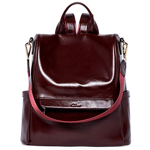 Women Backpack Purse Fashion Oil Wax Leather Large Travel Bag Ladies Shoulder Bags Red