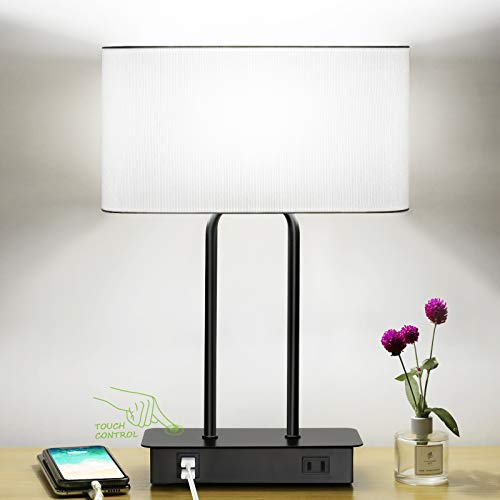 Bedside Touch Control Table Lamp with Dual USB Charging Ports 1 AC Outlet, 3 Way Dimmable Modern Nightstand Lamp with White Fabric Shade, Desk Lamp for Bedroom Living Room Office with 5000K LED Bulb