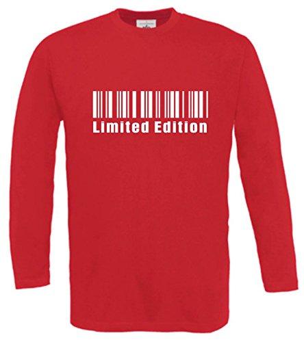 Spruchreif Langarm T-Shirt mit Druck LIMITED EDITION STRICHCODE (Farbe rot) (Größe M)