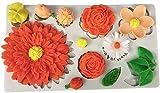 hwljxn Fondant Caramelo Moldes de Silicona, Flores Rose Chrysanthemum Daisy Sojape Moldes de Cera, Molde de Silicona para Bricolaje Hecho a Mano Crafts Postres Hapón de la Vela