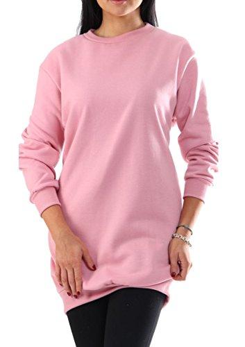 Oversize Pullover Sweatshirt Damen Sweater - VIELE Farben - Pulli Hipster Longshirt Oversized Shirt (M/L, Rosa)