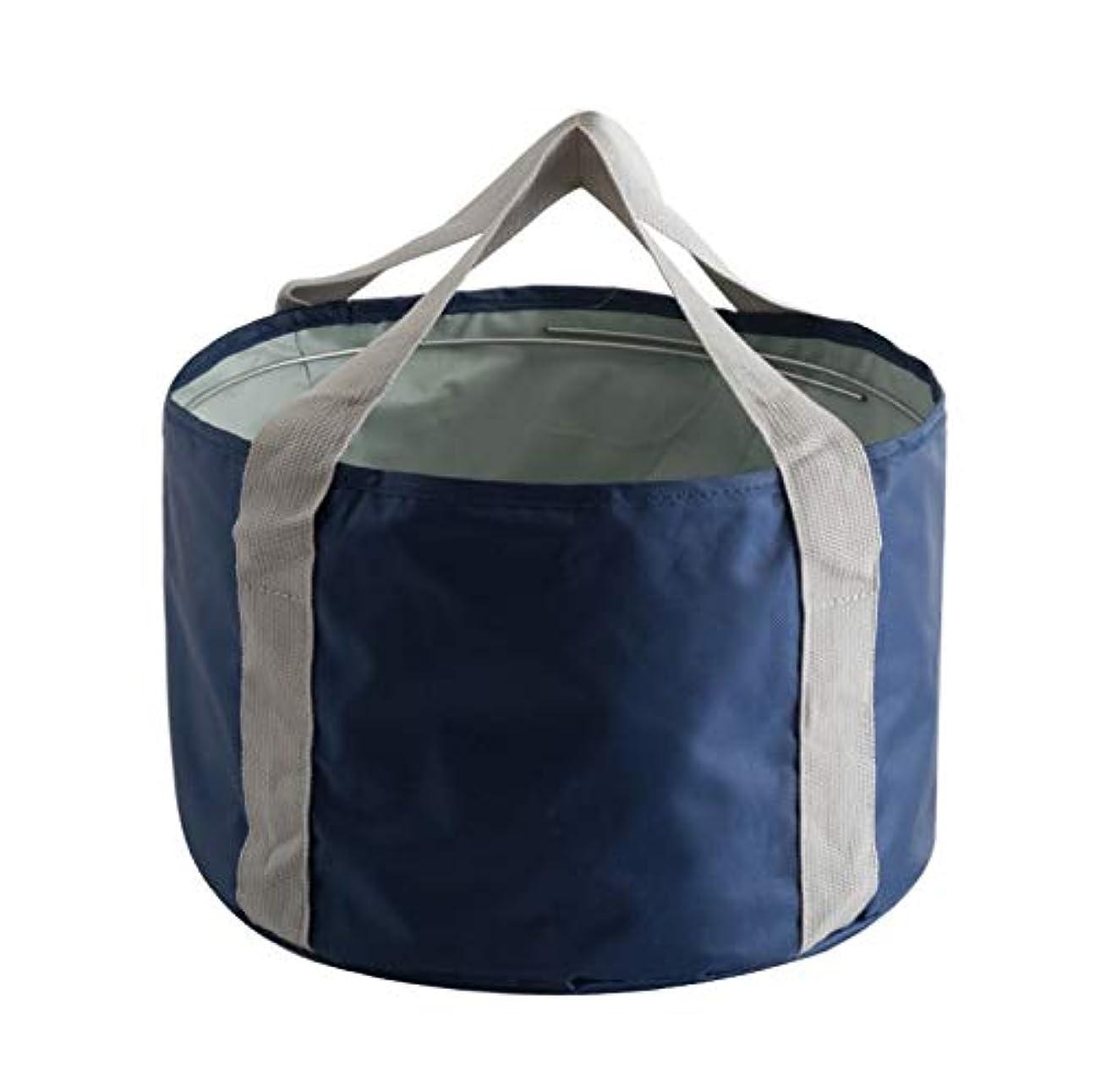 皮肉な抑圧水素KTH 携帯用浴槽、トラベルバッグ、ランドリー用バケツ、トラベル折りたたみ盆地 (Color : Dark Blue)
