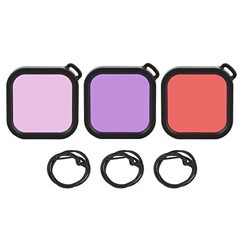 Qiilu Kit de Filtro de Carcasa, 3 en 1 ABS Rojo/Rosa/Púrpura Submarino Impermeable Funda de Buceo Kit de Filtro de Lente para cámara Deportiva Insta 360 One R