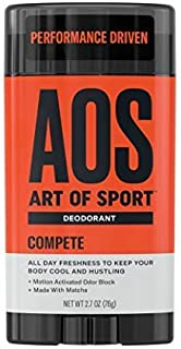 Art of Sport Men's Deodorant Compete Scent | Aluminum Free Deodorant for Men with Natural Ingredients | Paraben Free and Phthalate Free | Made for Athletes | Goes on Clear | 2.7oz
