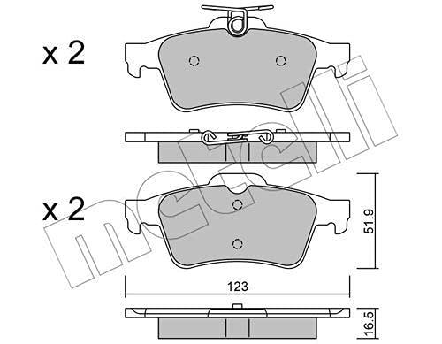 metelligroup 22-0337-1 Pastiglie Freno posteriori, Made in Italy, Pezzo di Ricambio per Auto / Automobile, Kit da 4 Pezzi, Certificate ECE R90, Prive di Rame