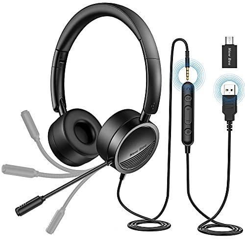 Cuffia PC con Microfono New Bee Cuffie USB/3.5 mm Cancellazione del Rumore & Suono Stereo Nitido Auricolare Business per Skype Zoom MS Team Seminario Web Chiamare Call Center
