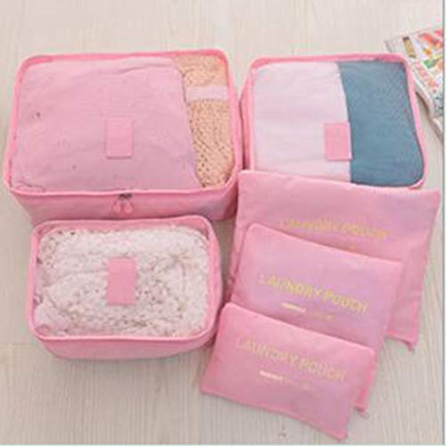 RHNE 6 PCS Travel Storage Bag Set For Clothes Tidy Organizer Wardrobe Suitcase Pink