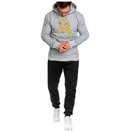 Cinnamou Homme Sweat à Capuche Casual Sports Nice Suit Christmas Printing Grand Taille Velvet Suit Manche Longue Chaud Top et Pantalon