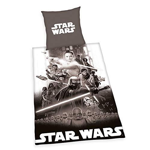 Herding Star Wars 9 Bettwäsche-Set, Wendemotiv, Mit leichtläufigem Reißverschluss, Baumwolle/Linon, Grau, Bettbezug 135 x 200 cm, Kopfkissenbezug 80 x 80 cm