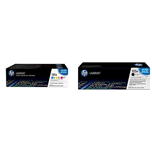 HP 125A 3er Pack CF373AM BlauRotGelb Original Toner fur HP Color Laserjet CP1215 CP1515 CM1312 HP 125A CB540A Schwarz Original Toner fur HP Color Laserjet CP1215 CP1515 CM1312