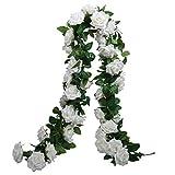 SHACOS 3 Unidades Guirnaldas de Rosas Artificiales de Seda Guirnalda de Flores Blancas para Colgar en Bodas, hogar, Oficina, Arco, decoración