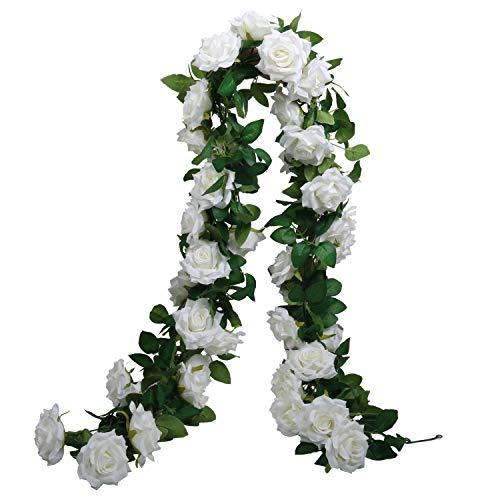 SHACOS 3 Stück Rose Girlande Weiß Blumengirlande Kunstblumen 198cm Seidenblumen Gefälschte Blumen Rose Girlande Hängend Rebe für Hochzeit Party Garten Dekor