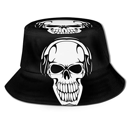 XCNGG Calavera con Auriculares Mujeres Hombres Unisex Sombrero para el Sol Sombrero de Color sólido Sombrero de Pescador Sombrero de Cubo para el Sol Moda Sombrero de Playa Salvaje Gorra Negro