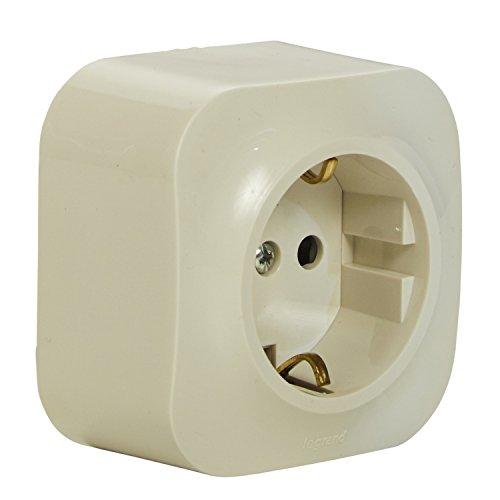 Legrand 782450forix Cuadro De Enchufe (de 1Compartimento), 2pines con protección de contacto y protección infantil para montaje en la pared, almendra de color blanco