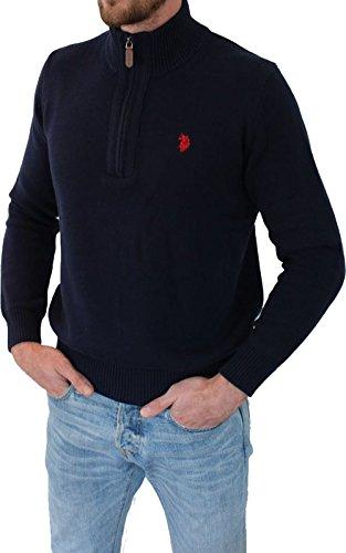 U.S. POLO ASSN. Herren Troyer – Pullover mit Stehkragen – Eleganter Langarm Strickpullover – Pulli für Herbst/Winter/Frühling – Für Freizeit Business (XXL, Navy)