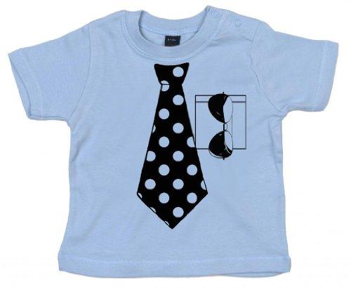 IiE Baby-T-Shirt mit Aufdruck einer gepunkteten Krawatte und Sonnenbrille, Unisex Gr. Gr. 50-68, hellblau