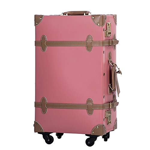 TANOBI トランクケース スーツケース キャリーバッグ SSサイズ機内持ち込み可 復古主義 おしゃれ 可愛い 13色4サイズ (マカロンピンク×カーキー, Mサイズ(3−5泊))