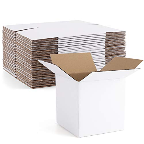 Euapko 4x4x4' Cardboard Box Mailers 25 Pack White Cube Corrugated Small Shipping Boxes for Mailing