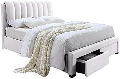 NOUVOMEUBLE Lit avec 2 tiroirs 160 x 200 Blanc Anais
