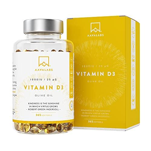 Vitamina D3 1000 UI - Vitamina D con Olio Extravergine di Oliva per assorbimento ottimale - Senza OGM, glutine e lattosio - Per la funzione ossea, muscolare e immunitaria- 365 Capsule Softgel