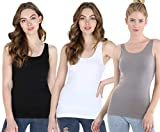 NIKIBIKI Women Seamless Wide Strap Basic Tank Top, One Size (3 Pack: Black, White, Cool Grey) from NIKIBIKI