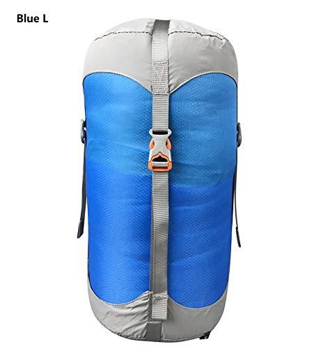 Générique Sac de Compression en Nylon pour Sacs de Couchage - 4 Couleurs - 4 Tailles - Couleur : Bleu L