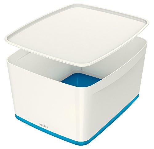 Leitz MyBox, Aufbewahrungsbox mit Deckel, Groß, Blickdicht, Weiß/Blau Metallic, Kunststoff, 52164036