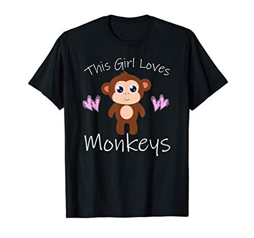 Monkey T-Shirt THIS GIRL LOVES MONKEYS Cute Kids Mom Gift T-Shirt
