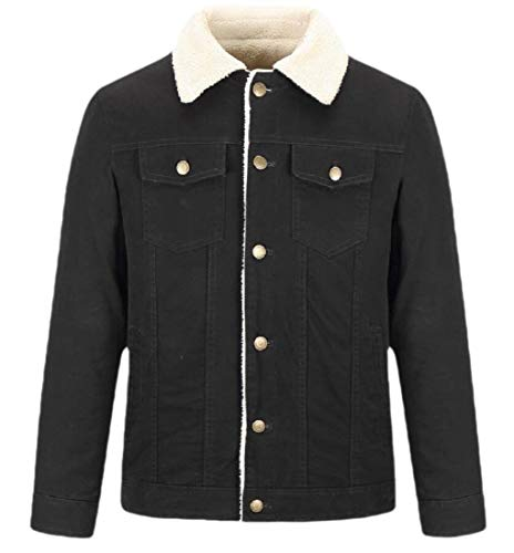H.Wang Mens Loose Button Up Lapel Lamb Wool Lined Thermal Denim Quilted Jacket Coat Outerwears Black M