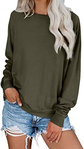 Yanekop Womens Solid Loose Crewneck Sweatshirt Casual Long Sleeve Pullover Tops Shirt(Army Green,L)