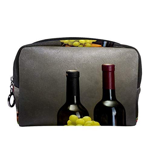 Bolsa de cosméticos para Mujeres Botella Unas pocas Copas de Uvas de Vino. Bolsas de Maquillaje espaciosas Neceser de Viaje Organizador de Accesorios