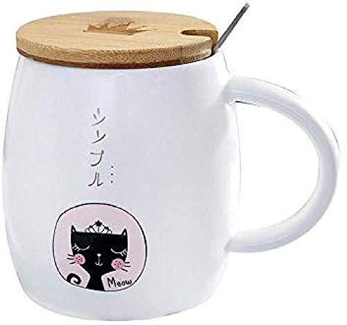 LUISONG FANMENGY Cup Animal del té de la Taza Taza de café de la Oficina Regalo Taza for Beber con la Historieta de la Cubierta de Madera con Cuchara Hogar
