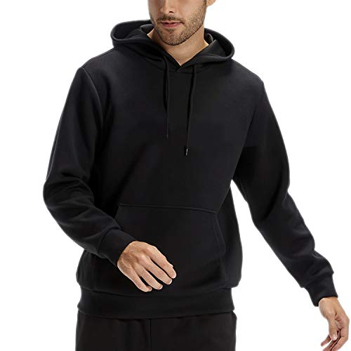 CASEI Solid Hoodies for Men Athletic Pullover Hoodie Lightweight Sweatshirt with Pockets Black-XXXL