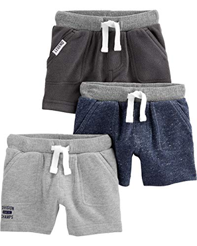 Simple Joys by Carter's Baby Boys' Toddler 3-Pack Knit Shorts, Navy Heather, Charcoal Heather, Gray, 3T