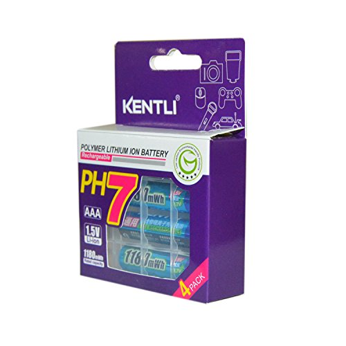 KENTLI 1.5v AAA Rechargeable Battery 1180mAh Lithium-ion Polymer Battery AAA Batteries 4 Pack of AAA Batteries