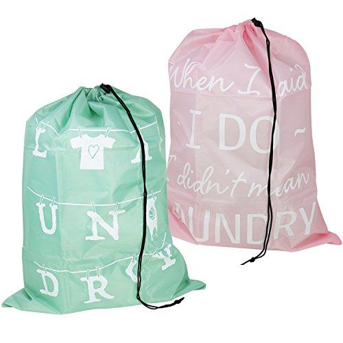 com-four® 2X Wäschesack für Reisen - Wäschebeutel für Schmutzwäsche - Wäschesammler mit Kordelzug - 69 x 50 cm (02 Stück - rosa/grün)