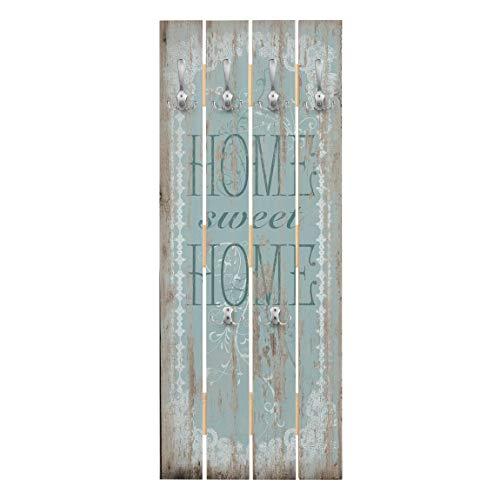 Bilderwelten Echtholz Paneel Wandgarderobe - Sweet Home - Haken Chrom - Hoch 100 x 40cm