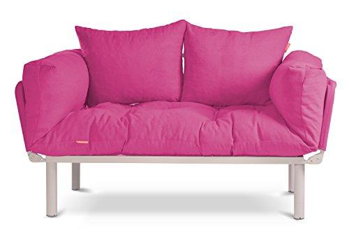 EasySitz Schlafsofa Sofa 2 Sitzer Kleines Couch 2-Sitzer Schlafsessel für Zweisitzer Personen Mein Futon Sitzen EIN Einer Farbauswahl (Rosa)