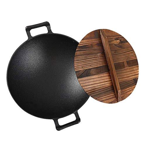 Wok de acero al carbono, Toall Wok de precisión de fundición, sartén de frito antiadherente con tapa, 14 pulgadas,