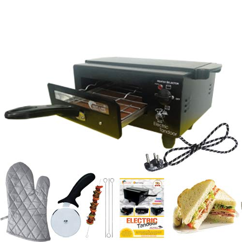 Hot Berg 1500W Electric Tandoor Medium Size'14 Inches'Upper Lower & Both Regulator -Aluminum Tray with Accessories Like Wire Rack Sticks; Recipe Book; Cool Touch Handle (Black) Comboo