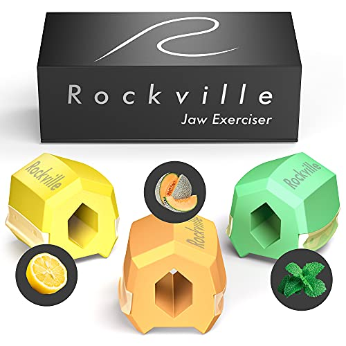 Rockville Flavored Jawline Exerciser Set - Fruit Scented Face Slimmer, Double Chin Reducer & Jaw Exerciser for Men and Women, 3 Pack Jaw Workout with 40, 50 and 60 LB Resistance, Jawline Shaper