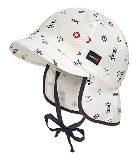 Gorra con visera y protección para la nuca, diseño marítimo. blanco/azul 51 cm