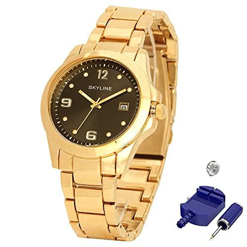 SKYLINE, Reloj de Pulsera, Acero Inoxidable, Diseño Júvenil con Calendario Incorporado, Estilo Elegante, Ideal para Uso Diario, Regalo Fechas Especiales, Color Dorado
